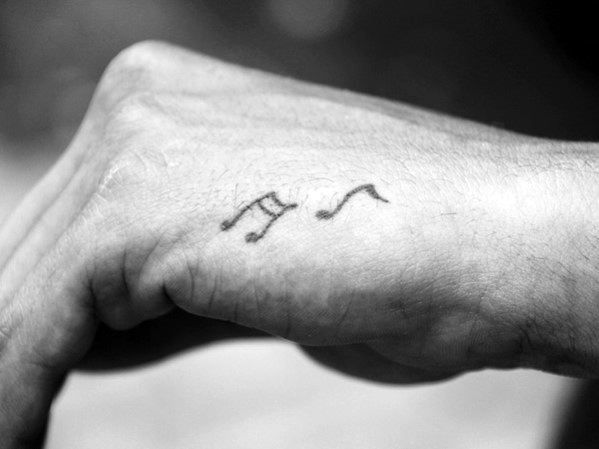 Music Notes Small Hand Tattoos For Men
