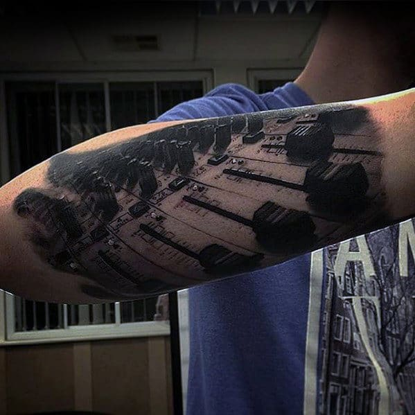 Music Production Hyper Realistic Guys Outer Forearm Tattoo