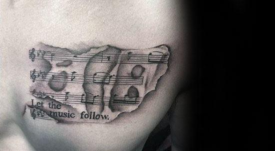 Music Staff Sheet Chest Tattoos Men