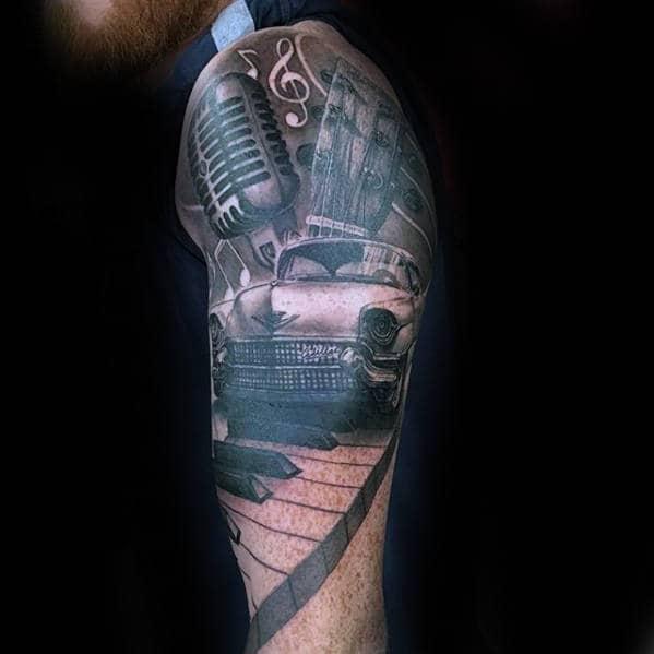 Music Themed Half Sleeve With Cadillac Car Mens Tattoos