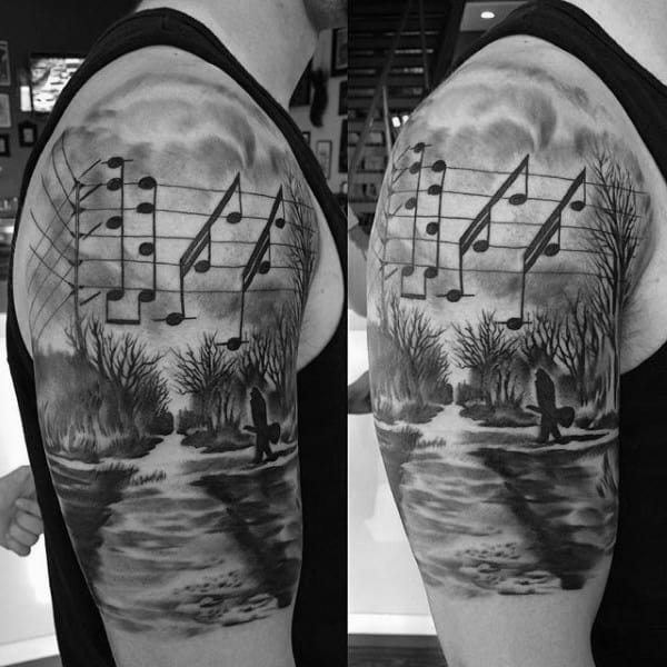 Musical Notes In A Meadow Tattoo For Men On Arms