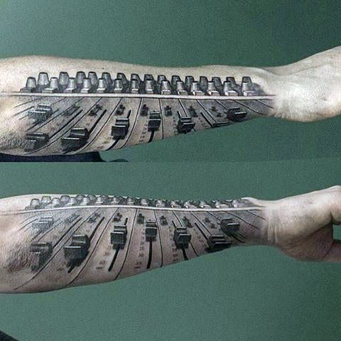 Musical Sound Control Tattoos On Both Arms For Men