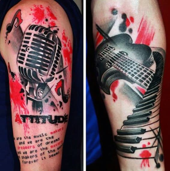 Musical Themed Trash Polka Arm Tattoos For Males