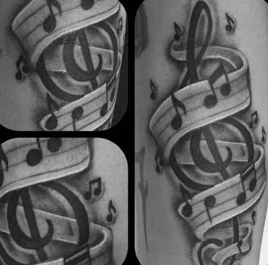 Musical Themed Treble Clef Mens Arm Tattoo Design Ideas