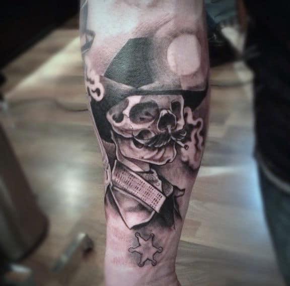 Mustache Skull Sheriff Black And White Tattoo For Man