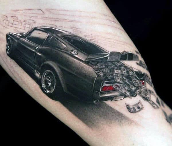Mustang With Money Flying From Trunk Guys Arm Tattoo