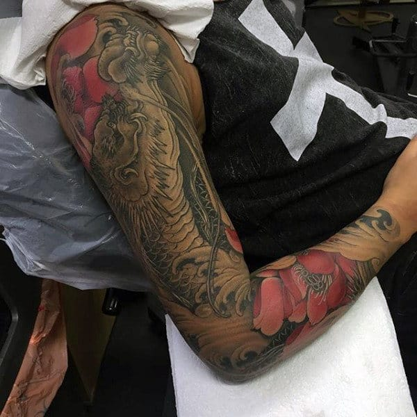 Muted Red Floral And Grey Dragon Tattoo Mens Sleeves