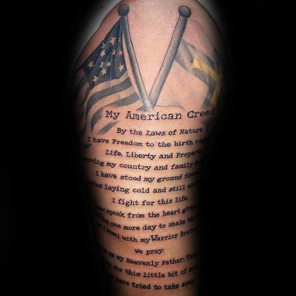 My American Creed Typewriter Font Mens Arm Tattoo Quote Design
