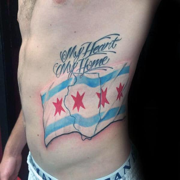 My Heart My Home Mens Chicago Flag State Outline Rib Cage Side Tattoos