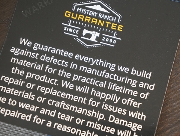 Mystery Ranch Guarantee For Backpacks