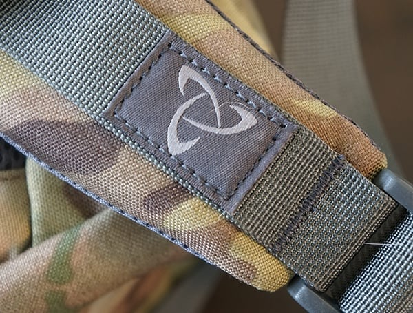 Mystery Ranch Logo Stiched Detail On Urban Assault Backpack Shoulder Strap