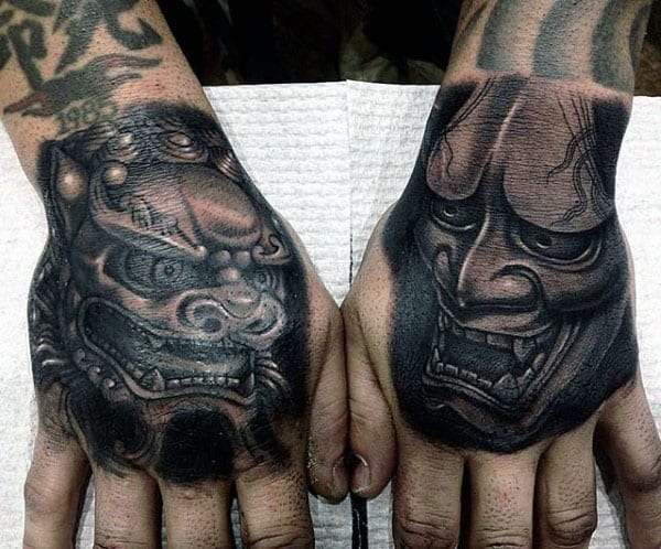 Mythical Lion Guys Foo Dog Hand Tattoo