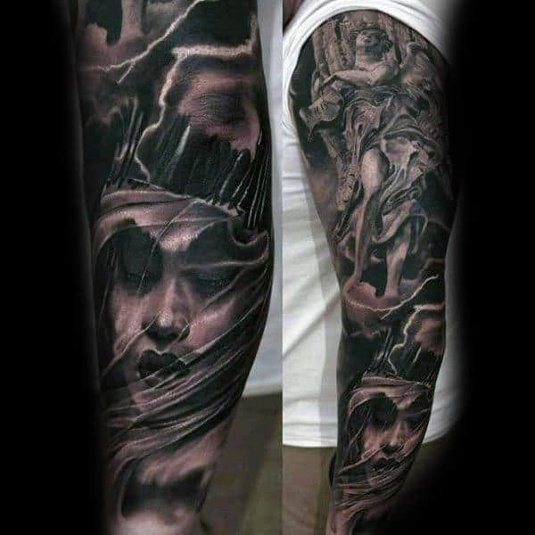 Mytholigical Religious Tattoo Male Sleeves