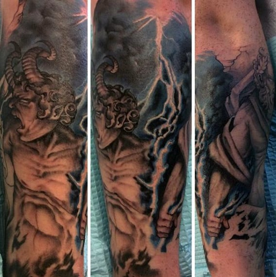 Mythology Gods Bolt Of Lightning Tattoos For Men