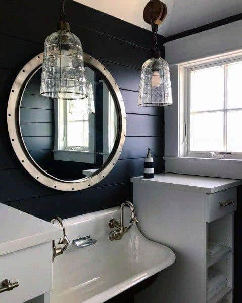 Naby Blue Nice Shiplap Bathroom Interior Ideas