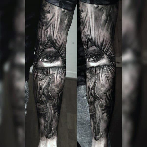 Naked Woman Illuminati Tattoo Male Sleeves