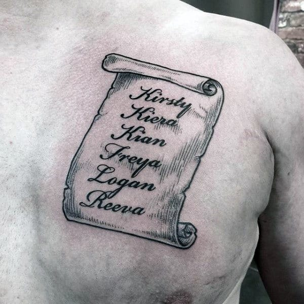 Names On Scroll Mens Chest Tattoo