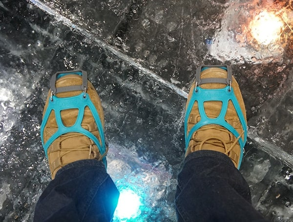 Nanospikes Walking On Giant Ice Block At Outdoor Retailer Winter Market