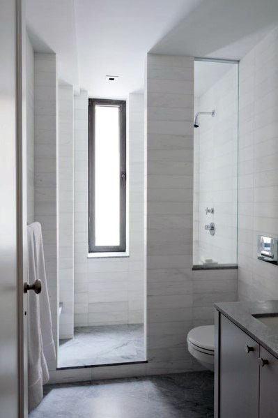 Narrow Vertical Modern Shower Window Ideas