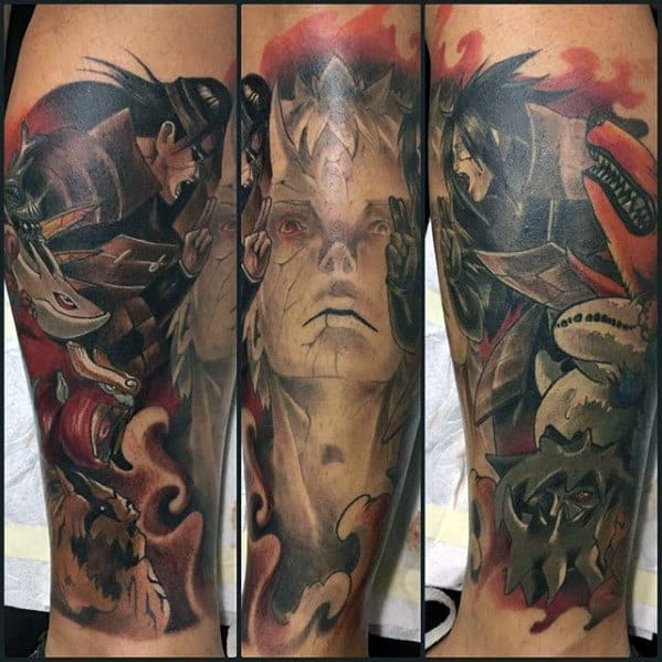 Naruto Tattoo Design On Man Leg Sleeve