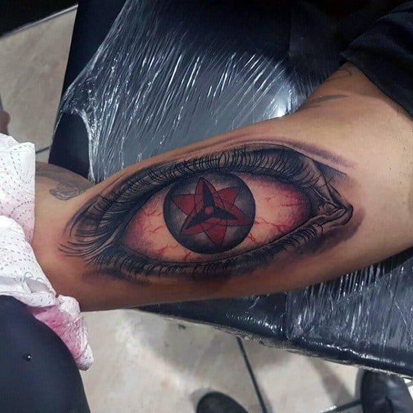 Guys Naruto Symbol Upper Arm Black Ink Tattoo t Uchiha Clan Tattoo