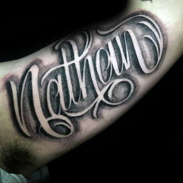 Nathan Mens Memorial Script Bicep Tattoo Designs