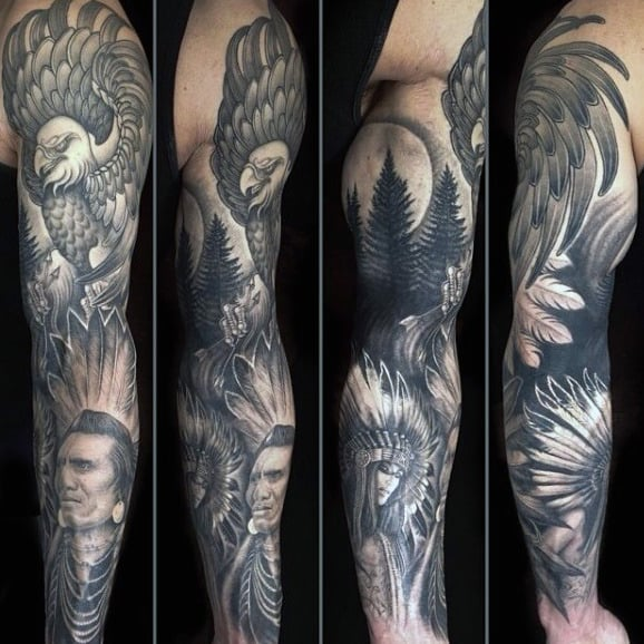 Native American Eagle Original Male Full Sleeve Tattoo Design Ideas