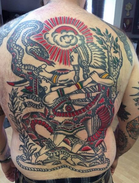Native American Fight And Snakes Tattoo Full Back Men