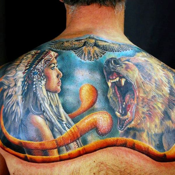 Native American Girl Eagle And Raging Beast Tattoo Male Back