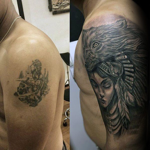Native American Guys Cover Up Arm Tattoo