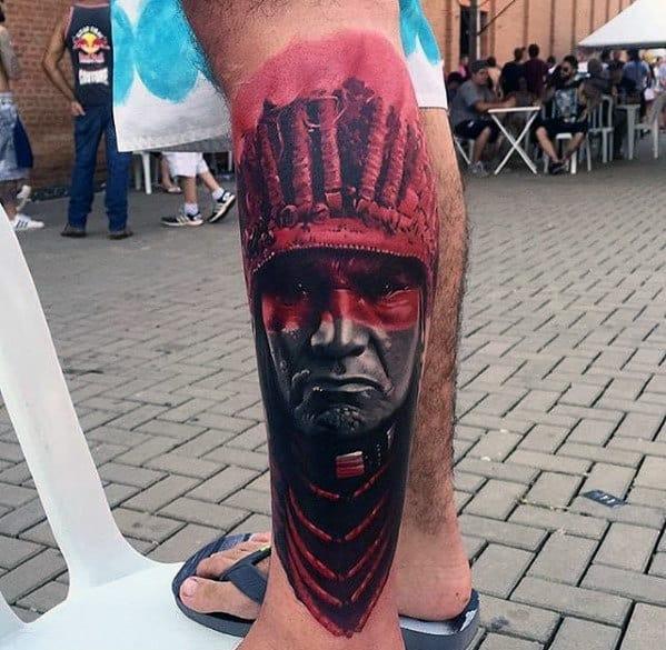Native American Indian Guys 3d Leg Tattoos