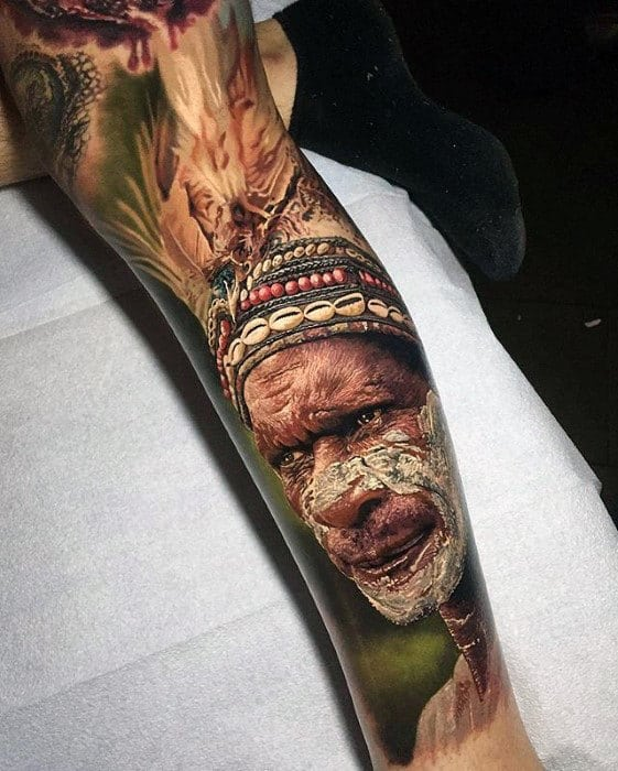 Native American Indian Guys Hyper Realistic Leg Sleeve Tattoo