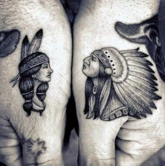 Native American Indians Guys Small Hand Tattoos