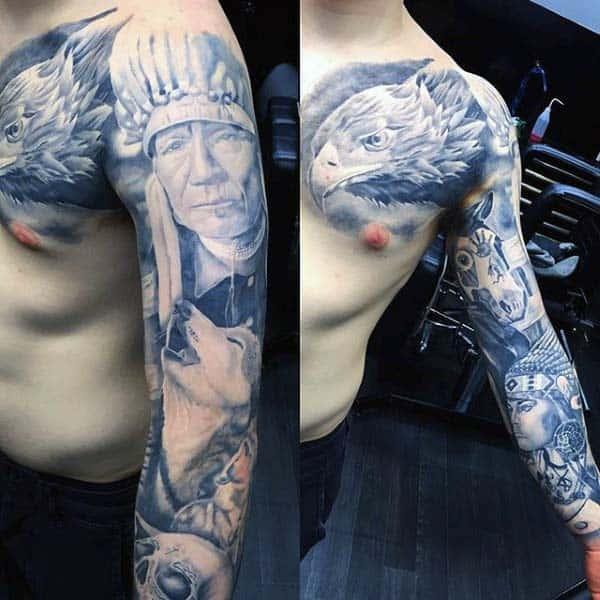 Native American Nice Guys Full Sleeve Tattoo Ideas