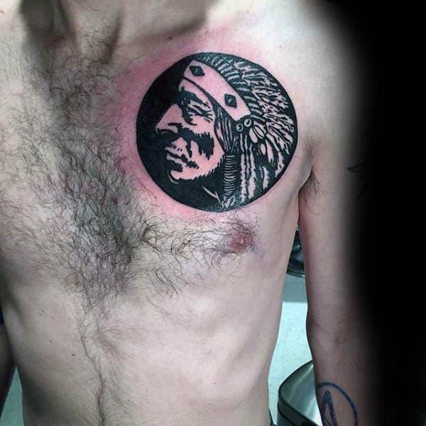 Native American Silhouette Mens Upper Chest Tattoos