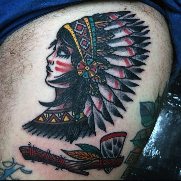 Native American Themed Tomahawk Tattoos For Men On Thigh Of Leg