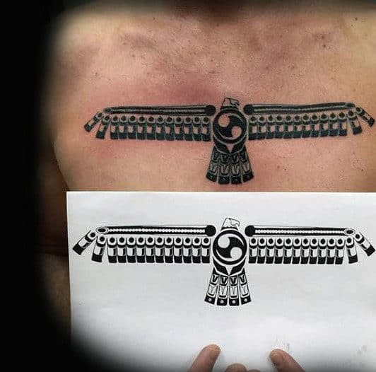 Native American Tribal Eagle Guys Chest Tattoo
