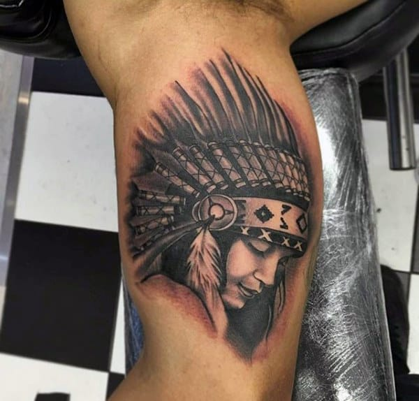 Native American Woman With Black Spiky Head Dress Tattoo