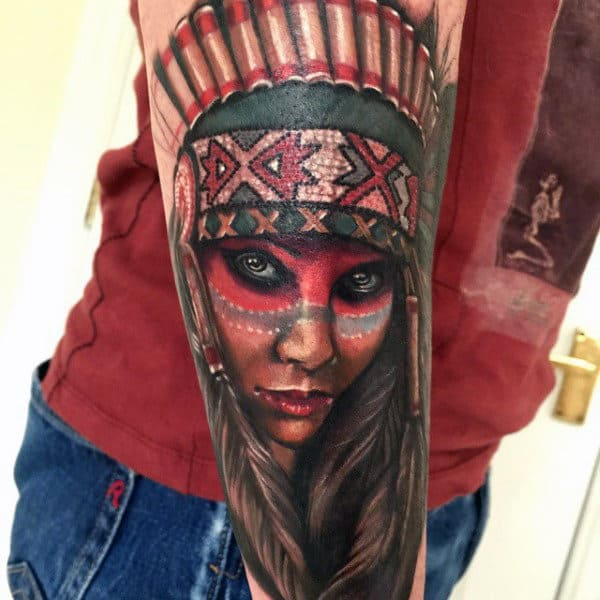 Native American Woman With Gothic Headdress Tattoo Male Forearms