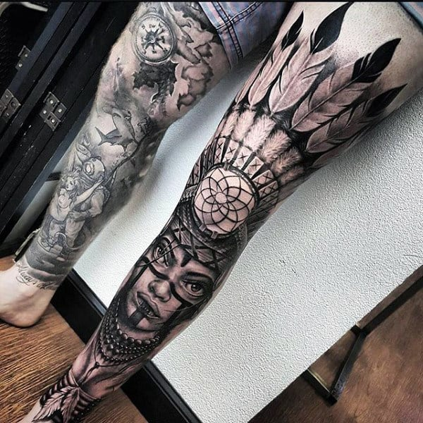 Native Red Indian Feather Tattoo With Arrows On Legs For Men