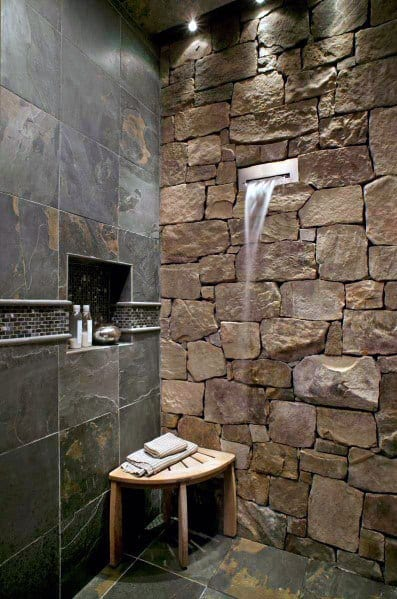 Natrual Rock Shower With Grey Slate Tile Recessed Niche Bathroom Ideas