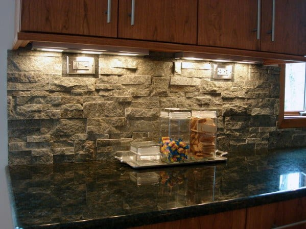 Natrual Rock Veneer Stone Backsplash Ideas For Kitchens