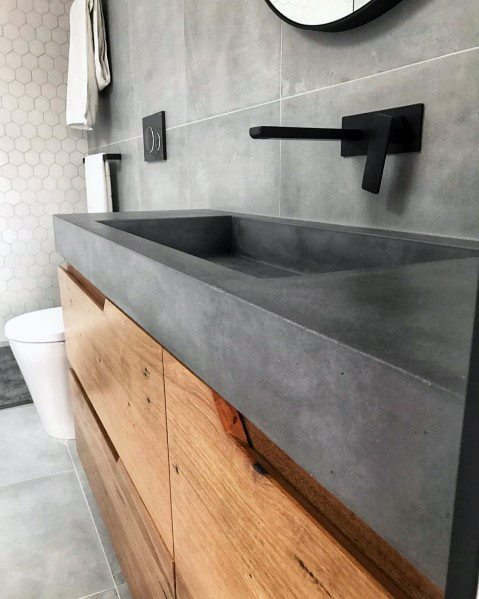 Natrual Wood With Concrete Countertop Home Design Ideas Bathroom Vanity