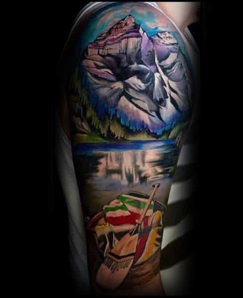Natur Mountains With Raft Half Sleeve Rad Tattoo Designs For Guys