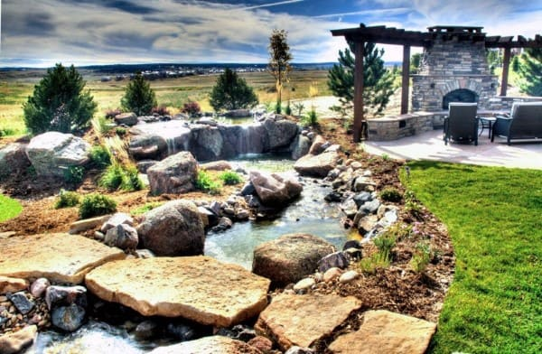 Natural Rock Backyard Pond Ideas With Waterfall