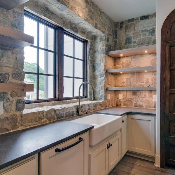 Natural Rock Stone Backsplash Ideas With Rustic Look