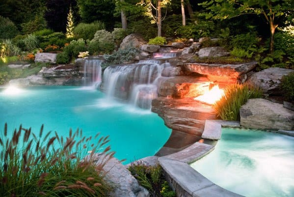 Natural Rock Waterfall Backyard Pool Retreat Lanscape Ideas