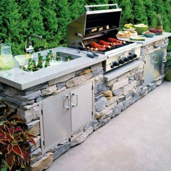 Natural Stone Cool Built In Grill Design Ideas