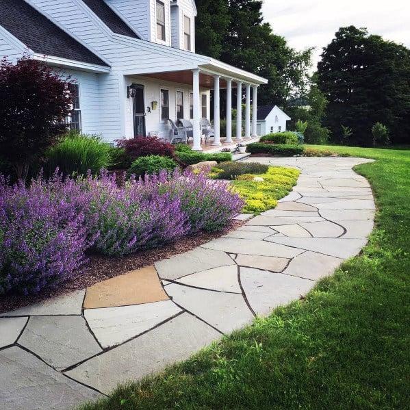 Natural Stone Front Yard Walkway Ideas
