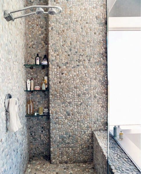 Natural Stone Pebble Shower Floor Tile Ideas